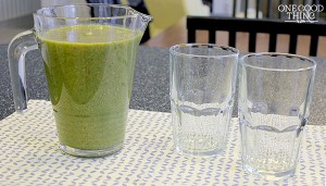 green smoothie & two glasses