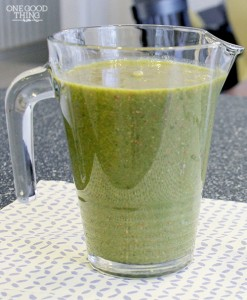 green smoothie in pitcher