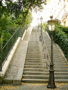 Steps with lamp post